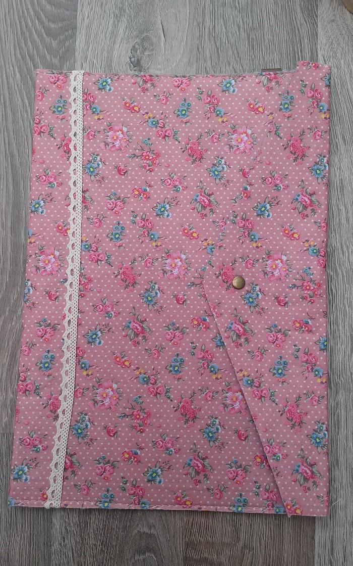 Portadocumentos Flores Vintage Rosa